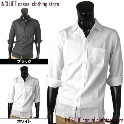 七分シャツ 七分袖 はんぱ袖 シャツ パナマ 麻混 綿麻 無地 メッシュ ブラック ホワイト