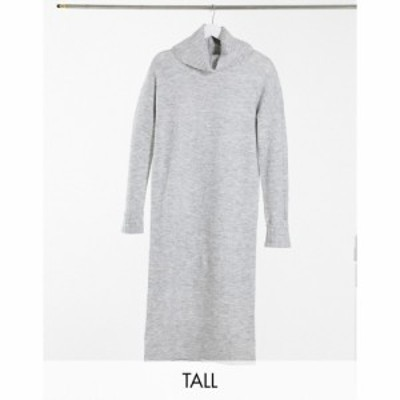 ヴェロモーダ Vero Moda Tall レディース ワンピース ワンピース・ドレス jumper dress with roll neck in grey グレー