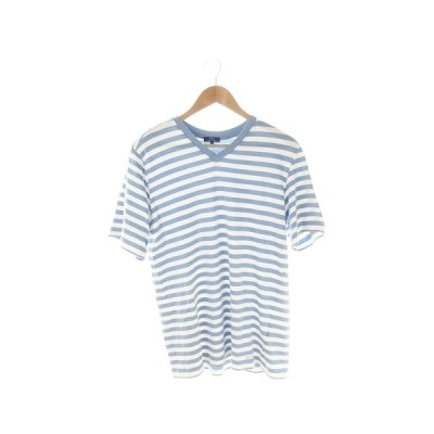 【中古】アーバンリサーチ URBAN RESEARCH ITEMS Tシャツ カットソー Vネック 半袖 ボーダー 40 水色 ブルー /AH15 ☆ メンズ 【ベクトル 古着】