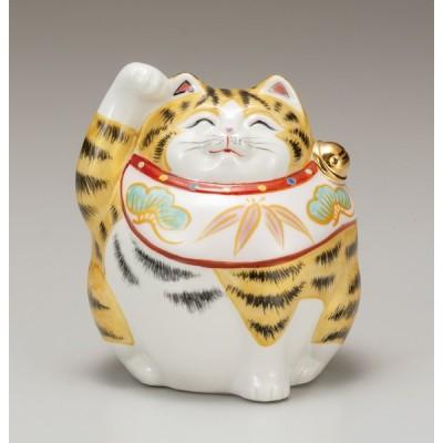 九谷焼 4号福々招き猫 金彩