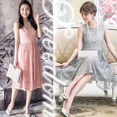 ドレス 結婚式 お呼ばれ 発表会 謝恩会 大きいサイズ 繊細花柄レースドレスワンピース S M L 2L 3L サイズ sale