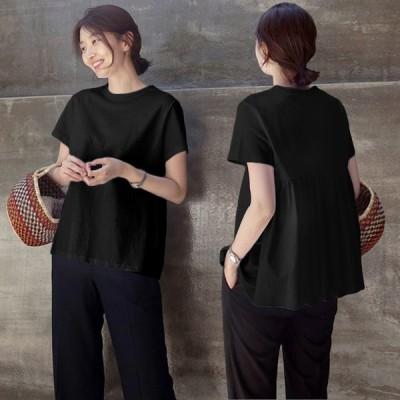 Tシャツ レディース トップス 半袖 カットソー ギャザー 切替 丸首 Uネック 無地 バックギャザー ブラック ホワイト