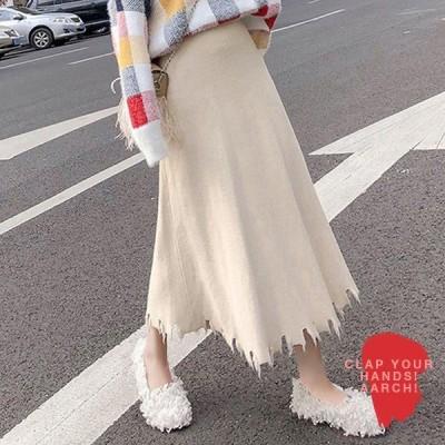 大きいサイズ スカート レディース ファッション ぽっちゃり おおきいサイズ 対応 リブニット 切りっぱなし フレイドヘム オーバーサイズ M L LL 秋冬