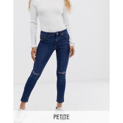 ニュールック ジーンズ レディース New Look Petite ripped skinny jeans in blue エイソス ASOS ブルー 青