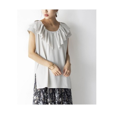 【ミリオンカラッツ】 ビックカラーフレンチスリーブTシャツ レディース L.グレー F Million Carats