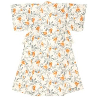 浴衣 レディース ホワイト 白 グレー 灰色 オレンジ 橙色 山査子 さんざし 綿 夏祭り 花火大会 女性用 仕立て上がり【Sサイズ】【フリー