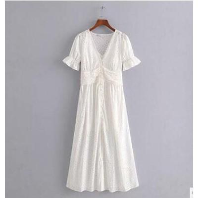 夏ファッション 半袖刺繍レースワンピース 着やせ透かし彫りの刺繍ワンピース  ロングワンピース