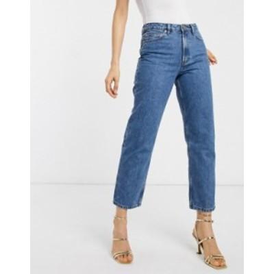 エイソス レディース デニムパンツ ボトムス ASOS DESIGN florence authentic straight leg jeans in vintage midwash blue Birght mid w