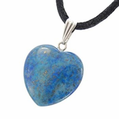 Steampunkers USA Big Heart Collection - 20mm Classic Lapis Lazuli Blue Golden Pyrite - 20-22 inch Black Cord ? Crystal Gemstone