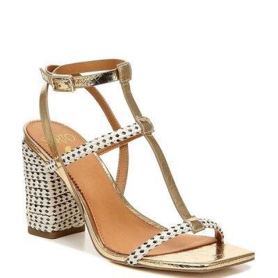 フランコサルト レディース サンダル シューズ Sarto by Franco Sarto Vix2 Metallic Leather Jute Square Toe Block Heel Sandals Gold
