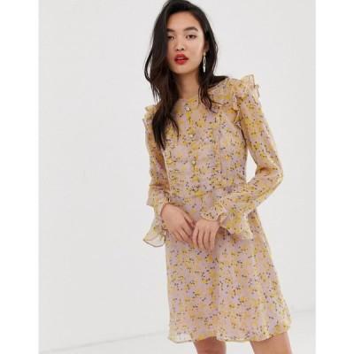 リバーアイランド River Island レディース ワンピース ワンピース・ドレス tea dress with frills in floral print