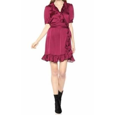Ruffle  ファッション ドレス Jill Stuart Womens Purple Size 6 Ruffle Trim V-Neck Sheath Dress