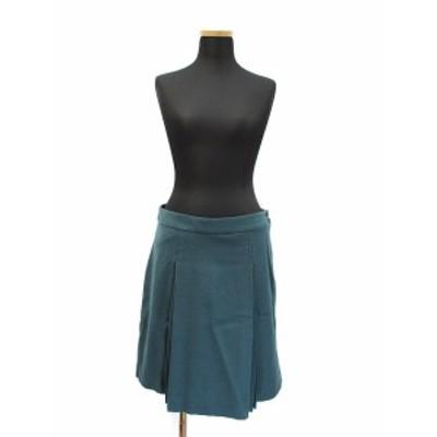 【中古】グリーンレーベルリラクシング ユナイテッドアローズ ウール ボックスプリーツ スカート 38 ダークグリーン
