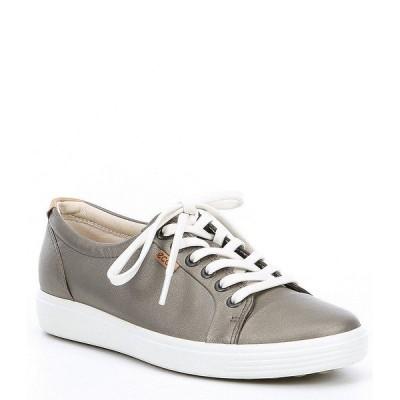 エコー レディース スニーカー シューズ Soft 7 Leather Lace-Up Sneakers Stone Metallic