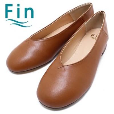Fin フィン Fin フィン 02-9355 ラウンドトゥバレエシューズ キャメル  カッターシューズ/ペタンコ/バレーシューズ/バブーシュ