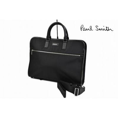 ポールスミス ビジネスバッグ バッグ メンズ ブランド Paul Smith ピンストライプ 3 2way ブリーフケース 黒 ブラック 男性 紳士 ナイロン 本革 使い