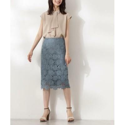 N.Natural Beauty Basic/エヌ ナチュラルビューティーベーシック ケミカルレースタイトスカート ブルー M