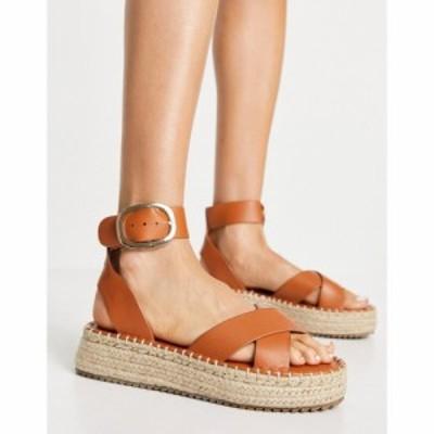 エイソス ASOS DESIGN レディース エスパドリーユ 厚底 サンダル・ミュール シューズ・靴 Justice flatform espadrille sandals in tan