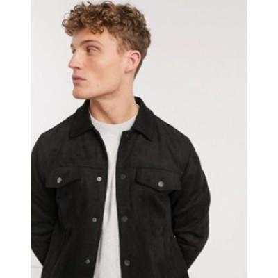 ニュールック メンズ ジャケット・ブルゾン アウター New Look suedette trucker jacket in black Black