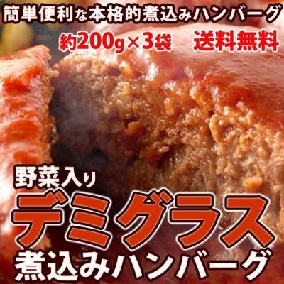 野菜入りデミグラス煮込みハンバーグ 約200g×3袋 お試し ポイント消化 1000円以下 送料無料(発送遅いです)