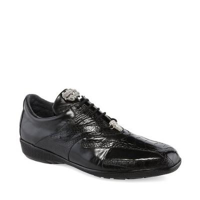 ベルヴェデール メンズ スニーカー シューズ Men's Bene Leather and Ostrich Trimmed Dress Sneakers
