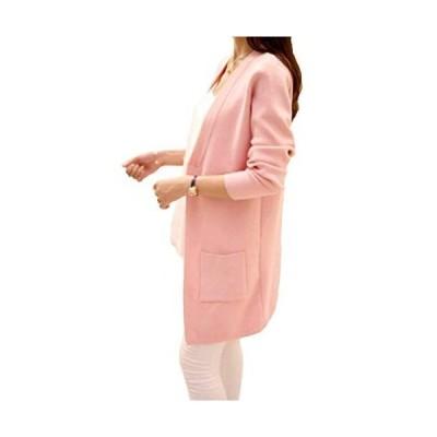 [ビーコ] 細見えカーディガン ミディアム丈 ボタンなし シンプル レディース ピンク