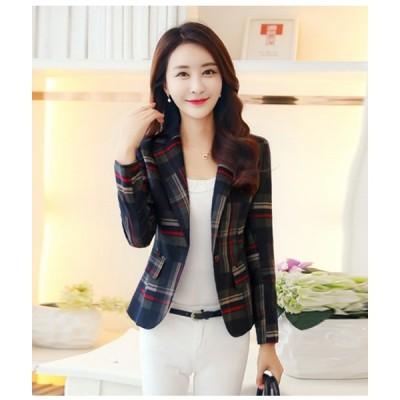テーラードジャケット 着痩せ 韓国風 大人かわいい 個性的 女性らしい エレガント オフィスカジュアル チェック柄