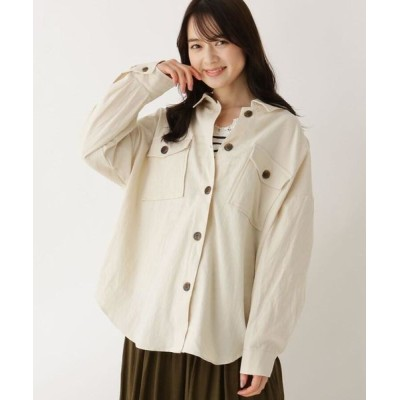 SHOO・LA・RUE/シューラルー 【M-LL】CPOコットン(綿)シャツ オフホワイト(003) 04(LL)
