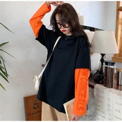 袖ロゴ 重ね着風 Tシャツ 韓国 オルチャン ストリート ダンス 衣装 原宿系 K-POP 長袖 アメカジ ゆったり HIPHOP ロンT トップス  4T-327