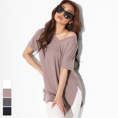 ANAP VネックラウンドヘムゆるてろTシャツ / anap Latina / 493-2054 ブラック フリー レディース
