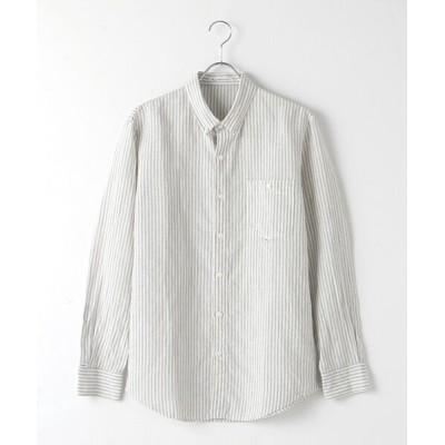 PAPAS/パパス 綿麻ストライプボタンダウンシャツ TOPグレー LL