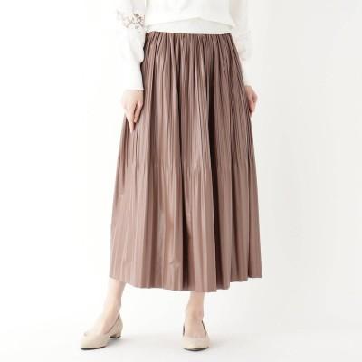 イッツデモ ITS' DEMO 消しプリーツフェイクレザースカート (タバコブラウン)