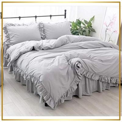 綿100% ライトグレー 布団カバー シングル 3点セット/掛ふとんカバーと枕カバー2枚