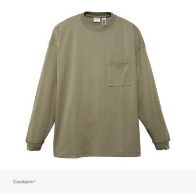 グッドウェア Goodwear USA COTTON SUPER BIG POCKET L/S TEE | BEIGE スーパー ビッグ 無地 ポケット 長袖 Tシャツ ポケT ロンT オーバーサイズ 米綿 ベージュ