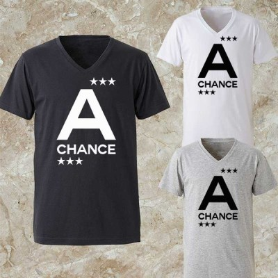 Tシャツ メンズ Vネック パロディ ブランド 半袖 ロゴ スター A チャンス