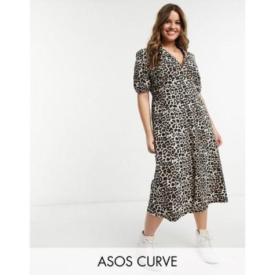 エイソス ドレス 大きいサイズ レディース ASOS DESIGN Curve ultimate midi tea dress in leopard print エイソス ASOS