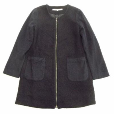 【中古】カージュ Khaju ウール もこもこ ノーカラー ジップ コート ジャケット アウター 324-05-0044 38 黒▼1