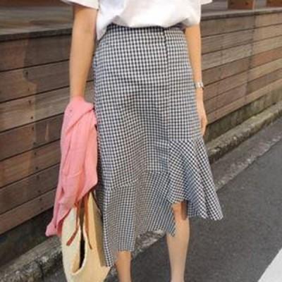 韓国 ファッション レディース スカート ボトムス 夏 春 秋 カジュアル 裾不規則 アシンメトリー 裾フリル かわいい ロング nalo5317 20代 30代 40代
