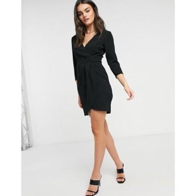 エイソス レディース ワンピース トップス ASOS DESIGN mini dress with wrap skirt in black Black