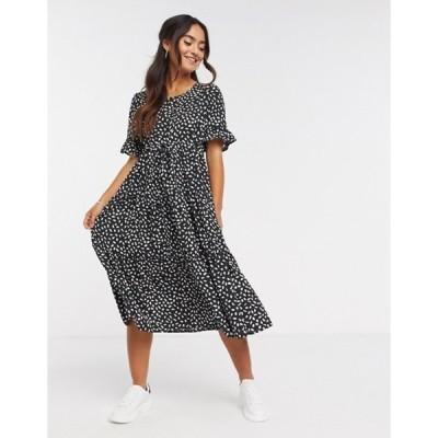 キューイーディーロンドン レディース ワンピース トップス QED London drawstring waist midi dress in black polka dot