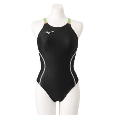ミズノ 競泳用ミディアムカット(レースオープンバック)[レディース] 93ブラック×ライム XL スイム 競泳水着 STREAM ACE N2MA1224