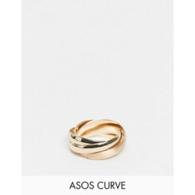 エイソス レディース 指輪 アクセサリー ASOS DESIGN Curve ring with interlocking design in gold tone Gold
