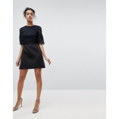 エイソス レディース ワンピース トップス ASOS Lace Crop Top Scallop Mini Dress Black