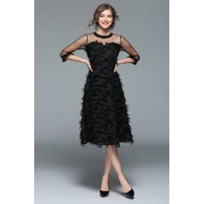 ドレス ブラック フェザー カジュアル パーティードレス 結婚式