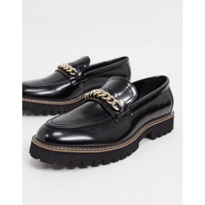 エイソス メンズ スリッポン・ローファー シューズ ASOS DESIGN chunky faux leather loafers in black Black