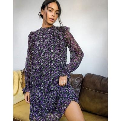 バイオレットロマンス ミディドレス レディース Violet Romance frill bib detail mini smock dress in ditsy floral print  エイソス ASOS sale マルチカラー