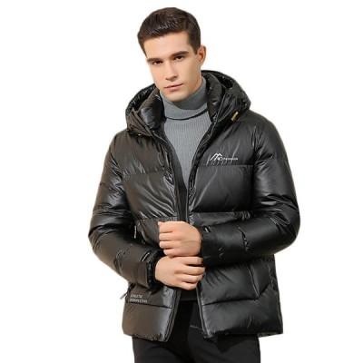 ダウンジャケット メンズ 冬服 ツヤツヤ 光沢感 無地 フード付き 立襟 防風防寒 保温 撥水 中綿ジャケット 厚手 フェザー