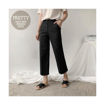 レディース パンツ 8.5 wide linen wide pants