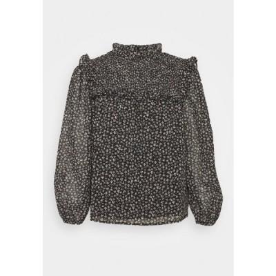 ドロシーパーキンス レディース ファッション MONOCHROME DITSY SHIRRED YOKE - Long sleeved top - black
