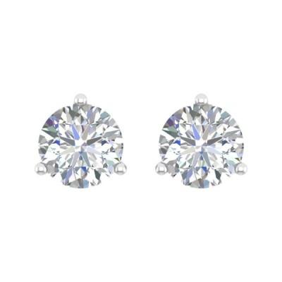 1/4 cttw 3 Prong Setting Round Cut Diamond Stud Earrings in 14k White